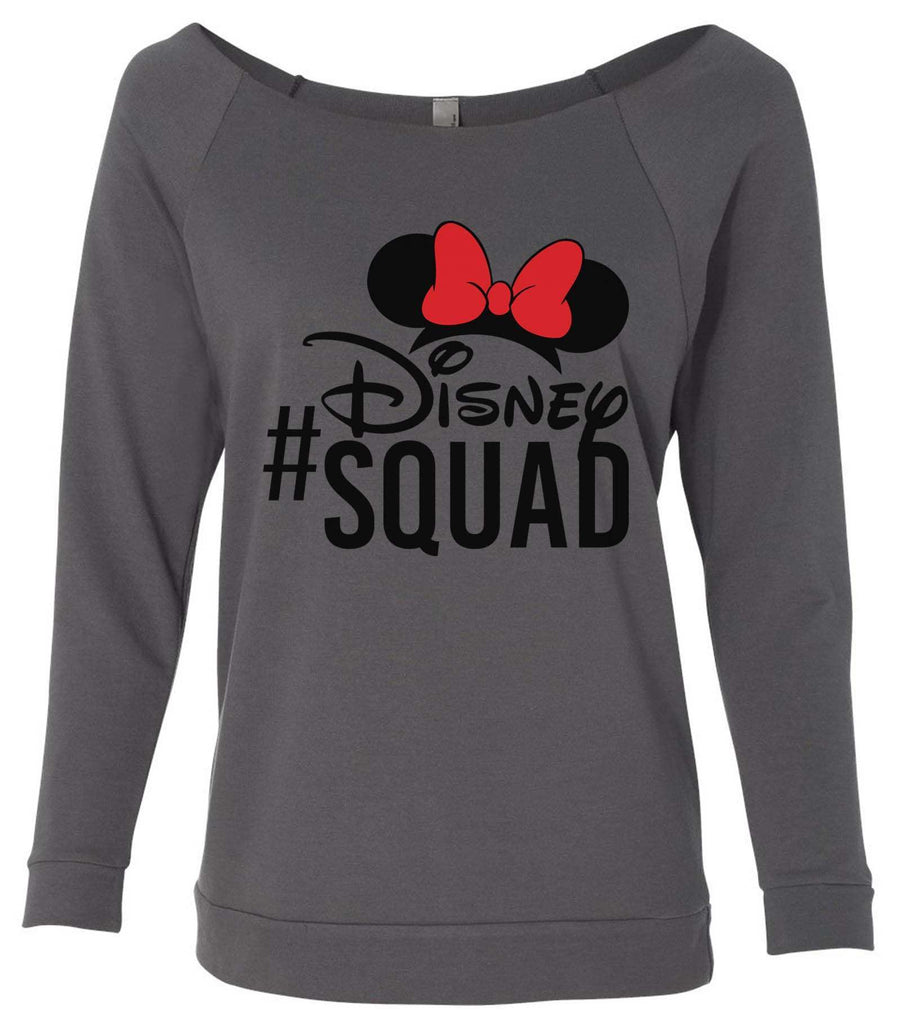 Disney Squad 3/4 Sleeve Raw Edge French Terry Cut - Dolman Style Very Trendy Funny Shirt Small / Charcoal Dark Gray