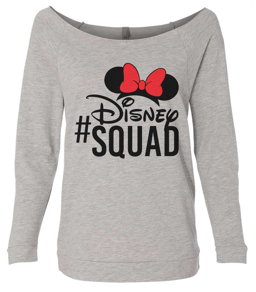 Disney Squad 3/4 Sleeve Raw Edge French Terry Cut - Dolman Style Very Trendy Funny Shirt Small / Grey