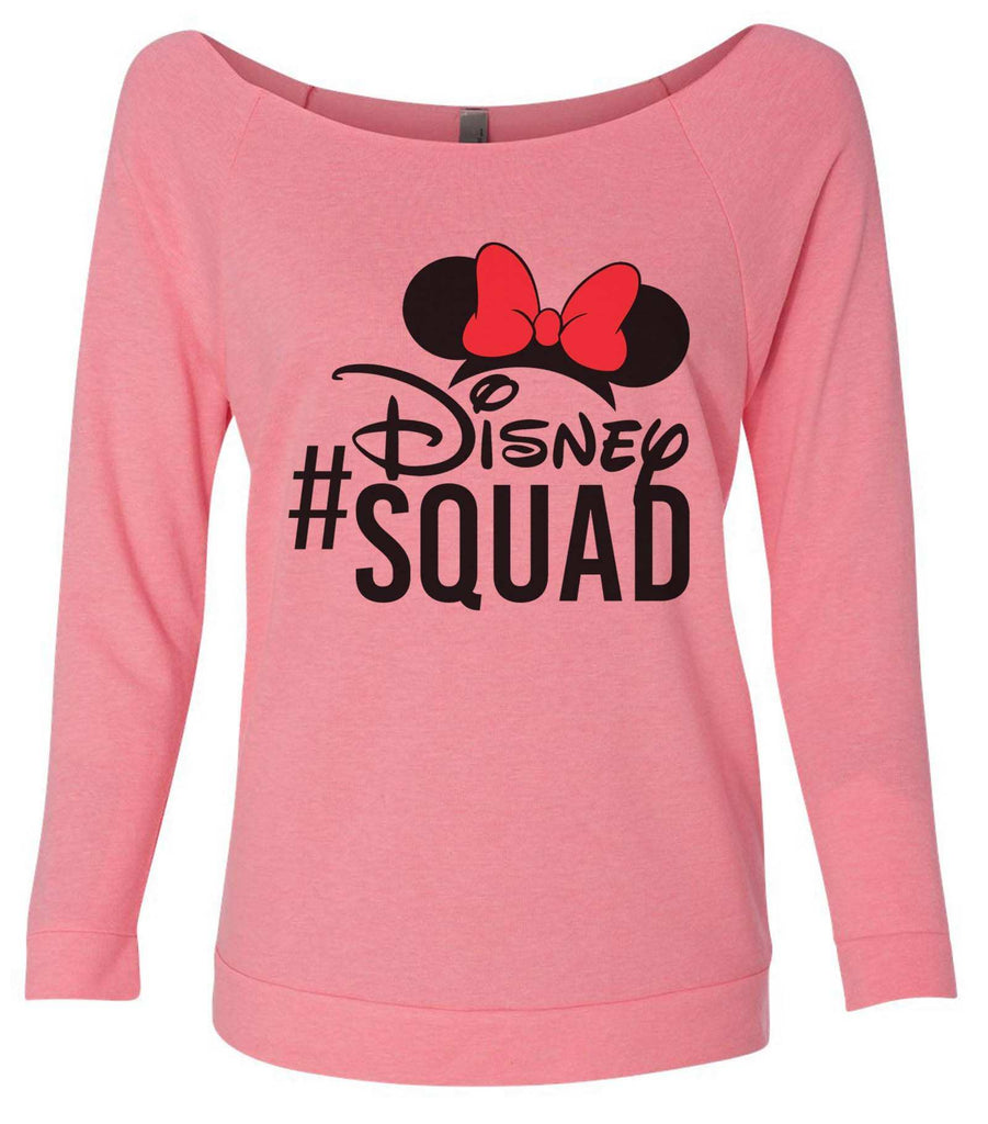 Disney Squad 3/4 Sleeve Raw Edge French Terry Cut - Dolman Style Very Trendy Funny Shirt Small / Pink