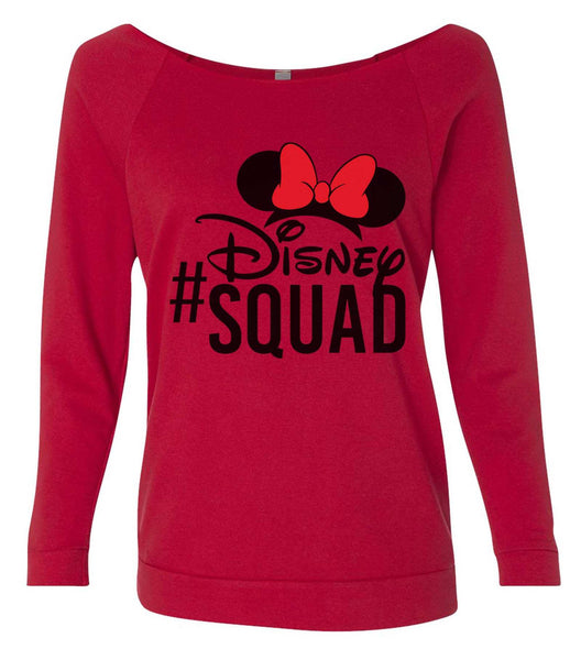 Disney Squad 3/4 Sleeve Raw Edge French Terry Cut - Dolman Style Very Trendy Funny Shirt Small / Red