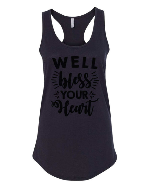 Womens Well Bless Your Heart Grapahic Design Fitted Tank Top Funny Shirt Small / Black