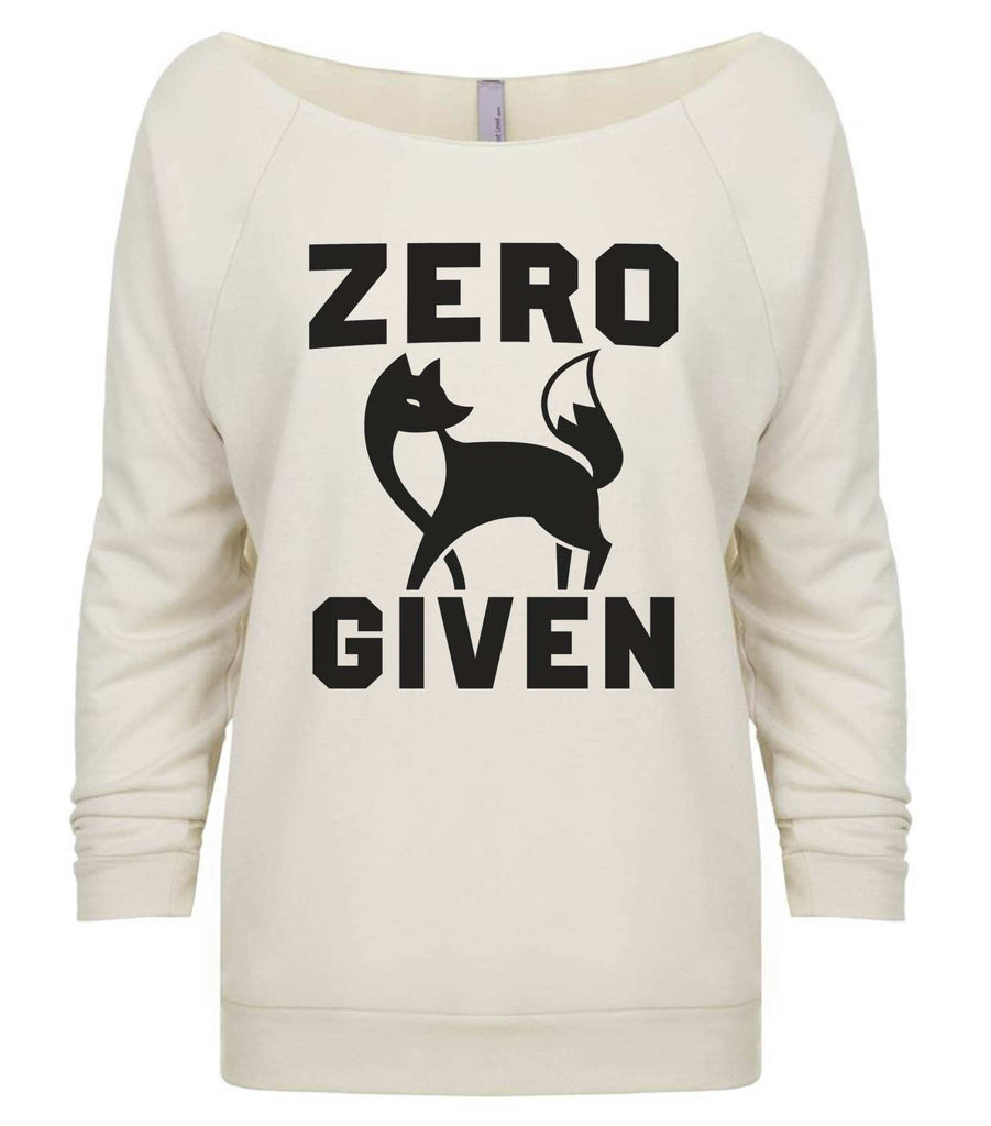 Zero Fox Given 3/4 Sleeve Raw Edge French Terry Cut - Dolman Style Very Trendy Funny Shirt Small / Beige