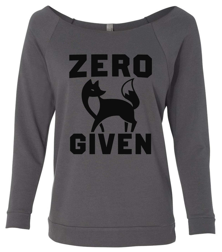 Zero Fox Given 3/4 Sleeve Raw Edge French Terry Cut - Dolman Style Very Trendy Funny Shirt Small / Charcoal Dark Gray