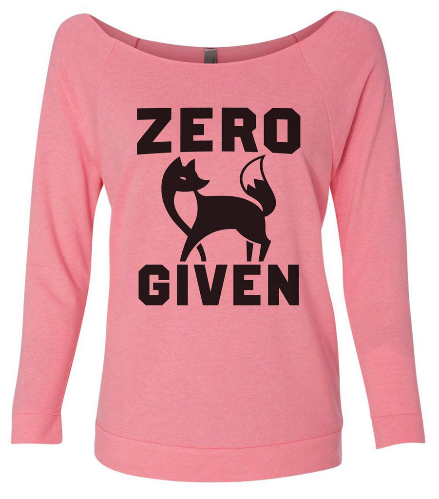 Zero Fox Given 3/4 Sleeve Raw Edge French Terry Cut - Dolman Style Very Trendy Funny Shirt Small / Pink