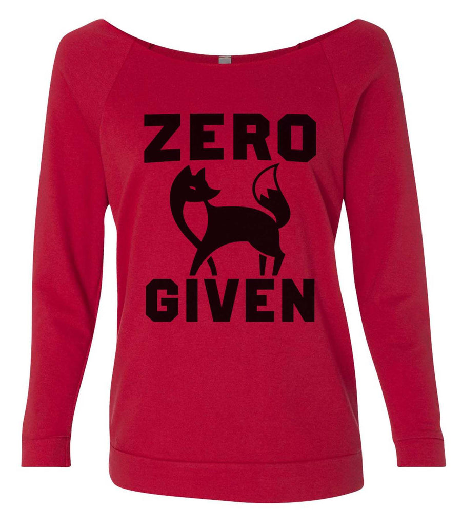 Zero Fox Given 3/4 Sleeve Raw Edge French Terry Cut - Dolman Style Very Trendy Funny Shirt Small / Red