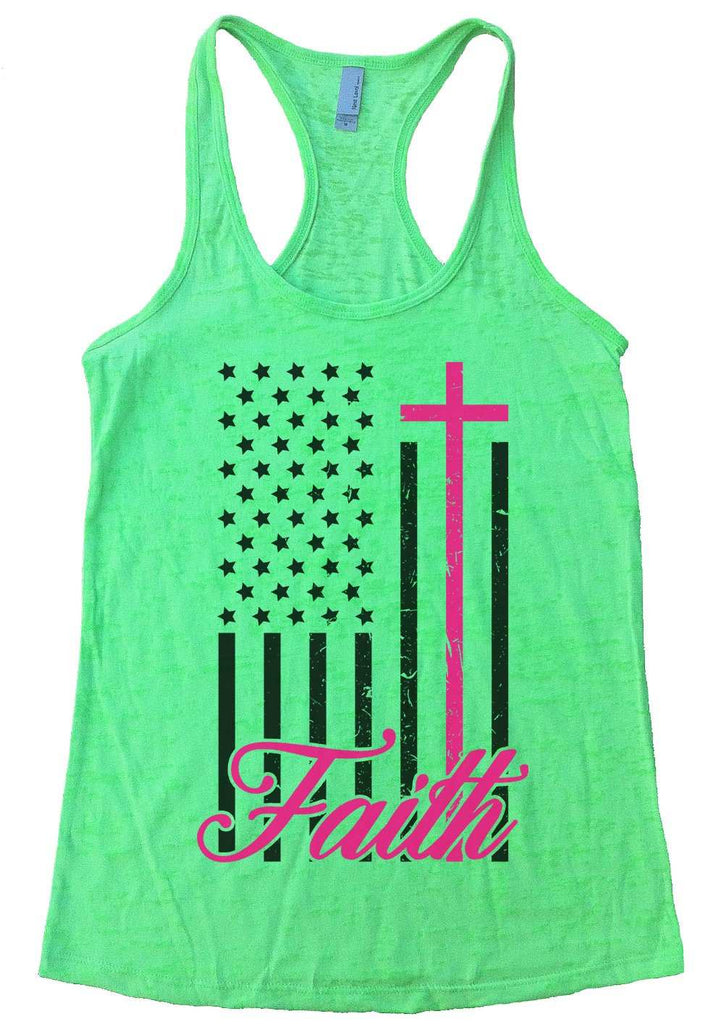 Faith Womens Burnout Tank Top By Funny Threadz Funny Shirt Small / Neon Green