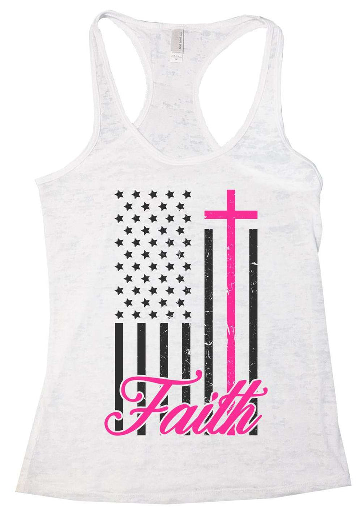 Faith Womens Burnout Tank Top By Funny Threadz Funny Shirt Small / White