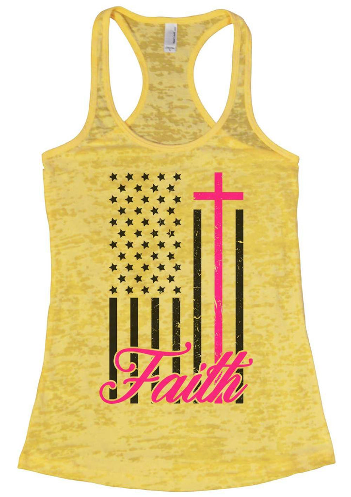 Faith Womens Burnout Tank Top By Funny Threadz Funny Shirt Small / Yellow