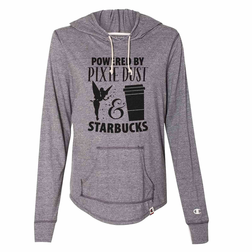 Powered By Pixie Dust & Starbucks - Womens Champion Brand Hoodie - Hooded Sweatshirt Funny Shirt Small / Dark Grey