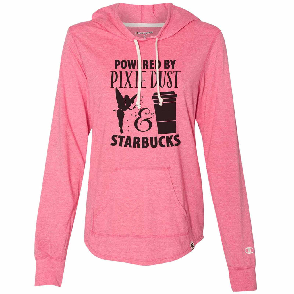 Powered By Pixie Dust & Starbucks - Womens Champion Brand Hoodie - Hooded Sweatshirt Funny Shirt Small / Pink