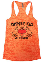 Disney Kid At Heart Womens Burnout Tank Top By Funny Threadz Funny Shirt Small / Neon Orange