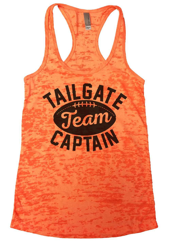 Tailgate Team Captain Womens Burnout Tank Top By Funny Threadz Funny Shirt Small / Neon Orange