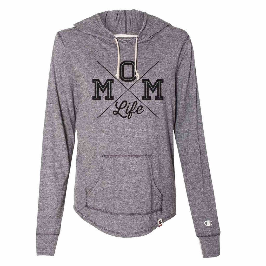 Mom Life - Womens Champion Brand Hoodie - Hooded Sweatshirt Funny Shirt Small / Dark Grey