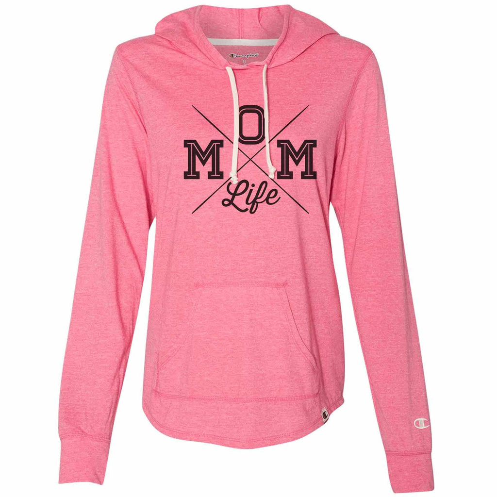 Mom Life - Womens Champion Brand Hoodie - Hooded Sweatshirt Funny Shirt Small / Pink