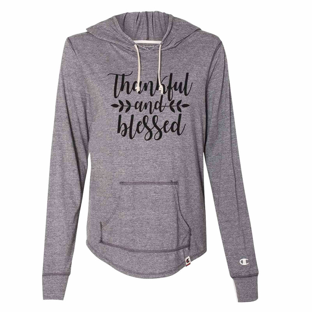 Thankful And Blessed - Womens Champion Brand Hoodie - Hooded Sweatshirt Funny Shirt Small / Dark Grey