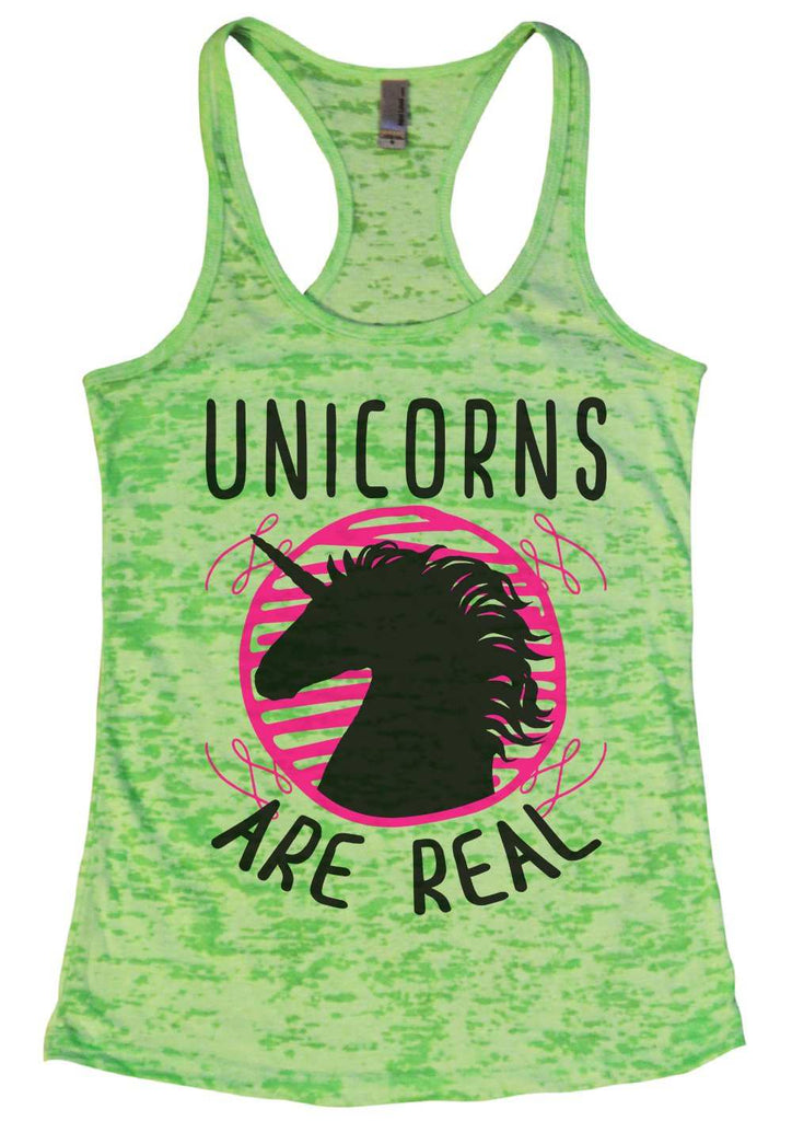 Unicorns Are Real Womens Burnout Tank Top By Funny Threadz Funny Shirt Small / Neon Green