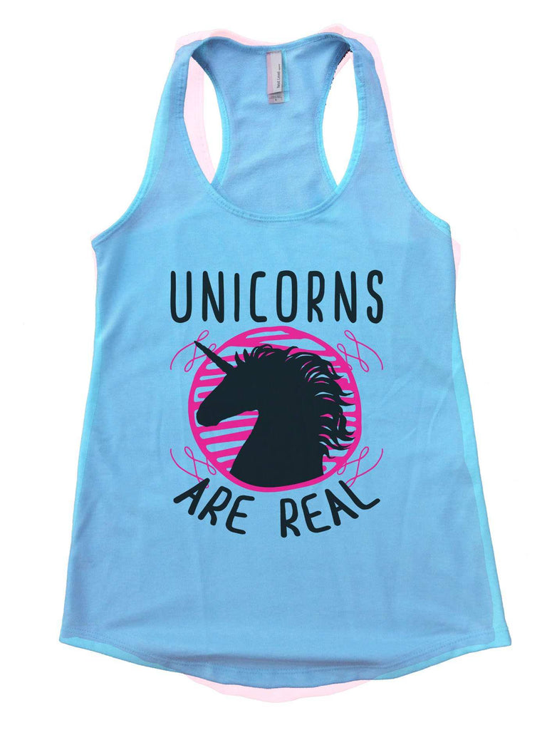 Unicorns are real Womens Workout Tank Top Funny Shirt Small / Cancun Blue