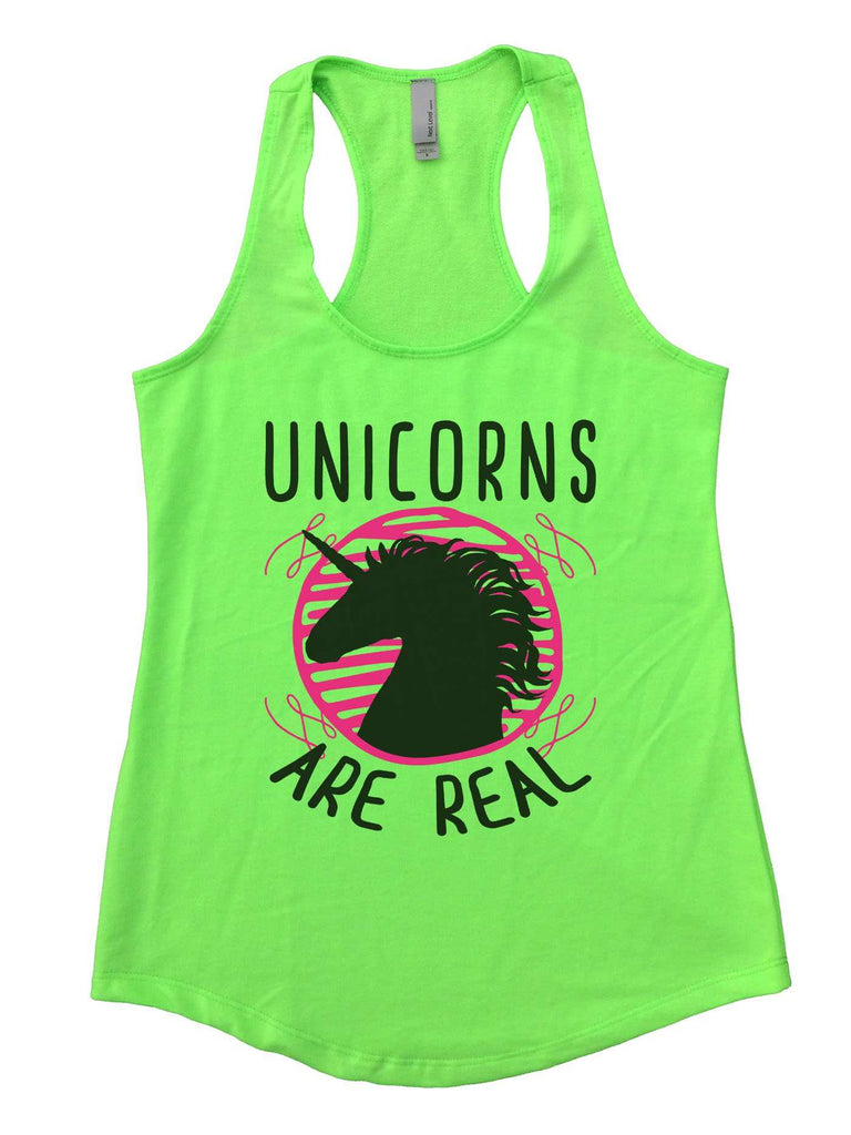 Unicorns are real Womens Workout Tank Top Funny Shirt Small / Neon Green