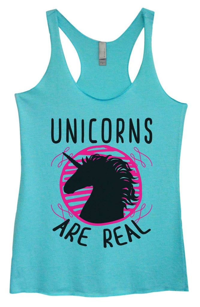 Womens Tri-Blend Tank Top - Unicorns are real Funny Shirt Small / Vintage Blue