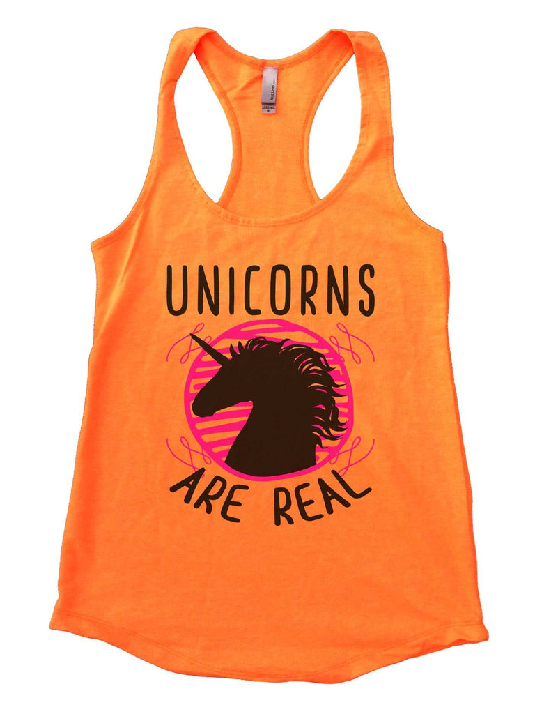 Unicorns are real Womens Workout Tank Top Funny Shirt Small / Neon Orange