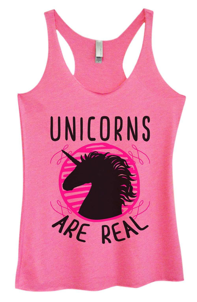 Womens Tri-Blend Tank Top - Unicorns are real Funny Shirt Small / Vintage Pink