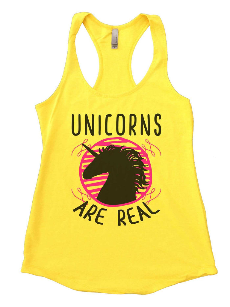 Unicorns are real Womens Workout Tank Top Funny Shirt Small / Yellow