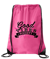 "Drawstring Gym Bag  ""Good Vibe Society""  Funny Workout Squatting Gift Funny Shirt Pink Nylon Bag 14"" x 18"""