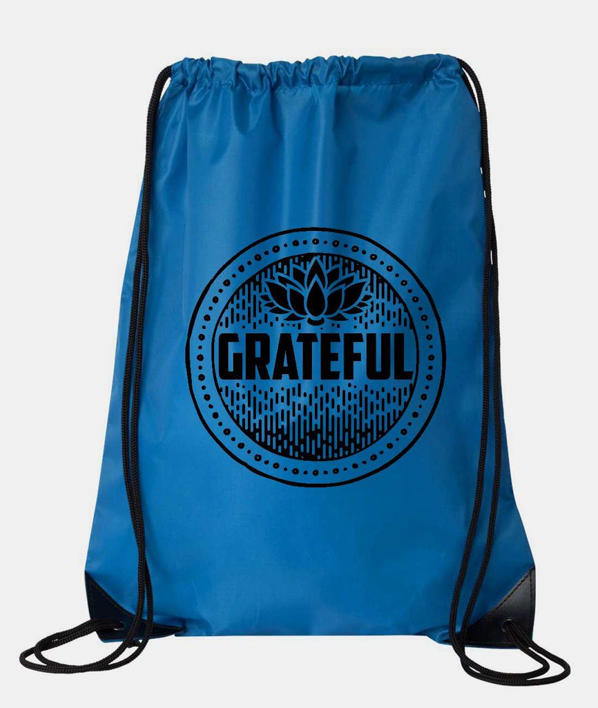 "Drawstring Gym Bag  ""Grateful""  Funny Workout Squatting Gift Funny Shirt Blue Nylon Bag 14"" x 18"""