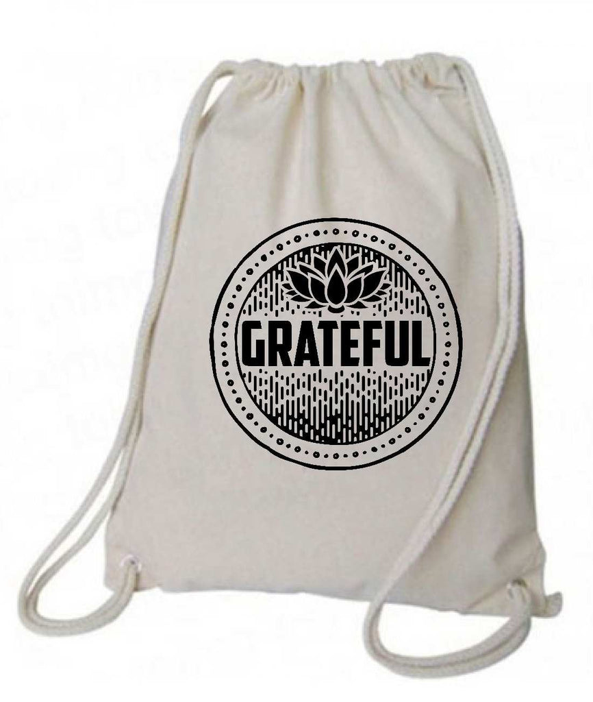 "Drawstring Gym Bag  ""Grateful""  Funny Workout Squatting Gift Funny Shirt Natural Canvas Bag 14"" x 18"""