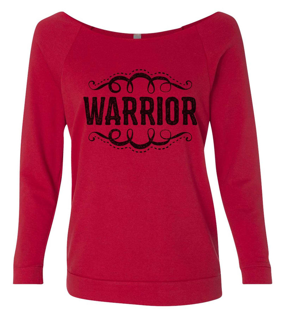 Warrior 3/4 Sleeve Raw Edge French Terry Cut - Dolman Style Very Trendy Funny Shirt Small / Red