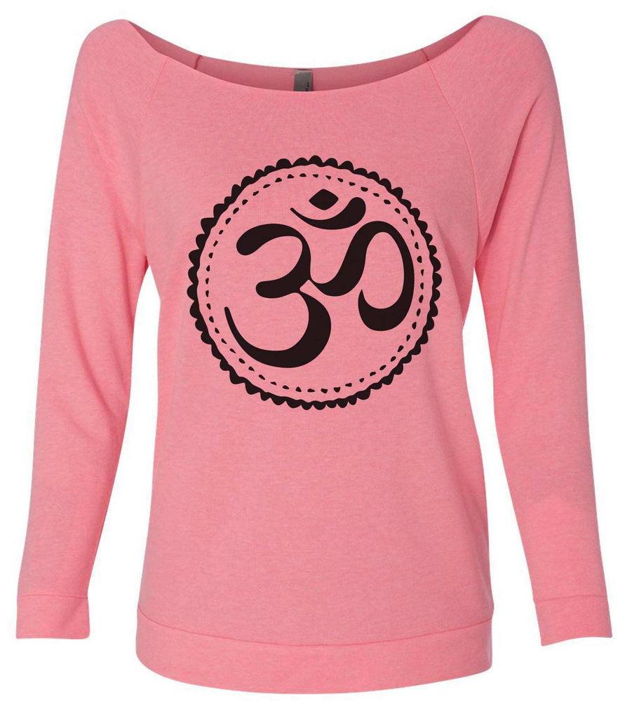 Om 3/4 Sleeve Raw Edge French Terry Cut - Dolman Style Very Trendy Funny Shirt Small / Pink