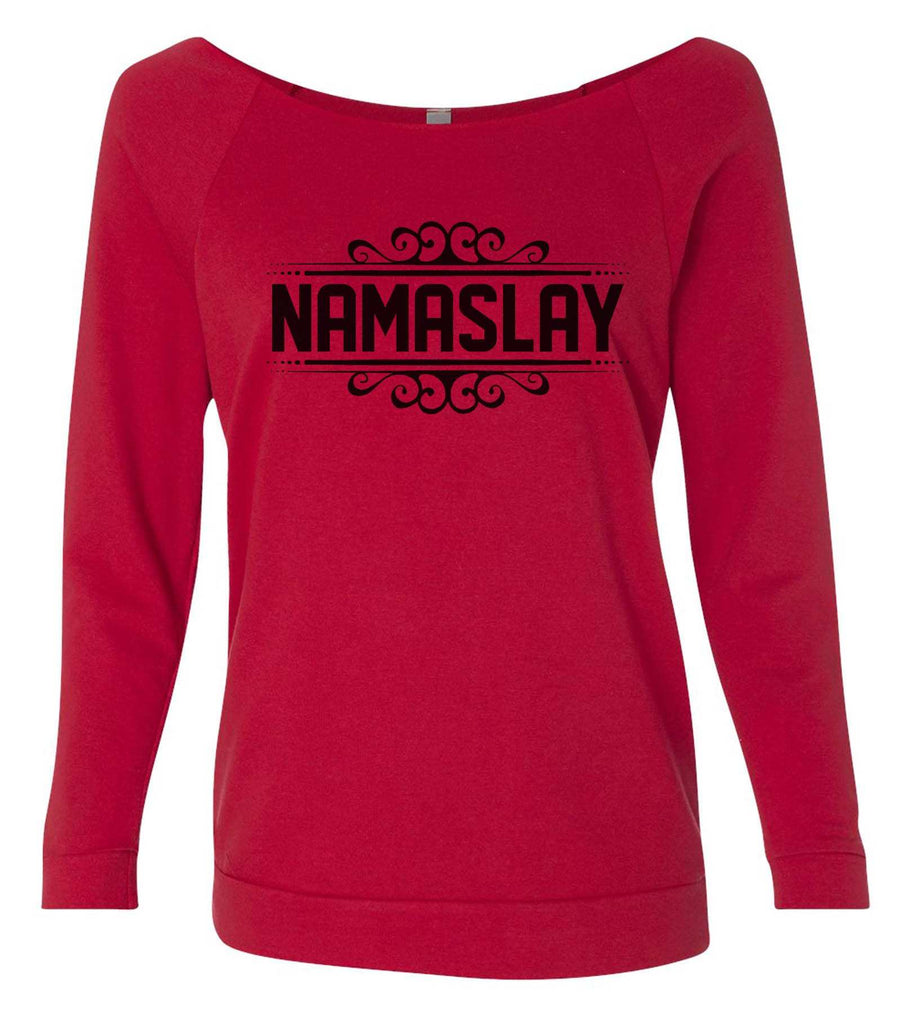 Namaslay 3/4 Sleeve Raw Edge French Terry Cut - Dolman Style Very Trendy