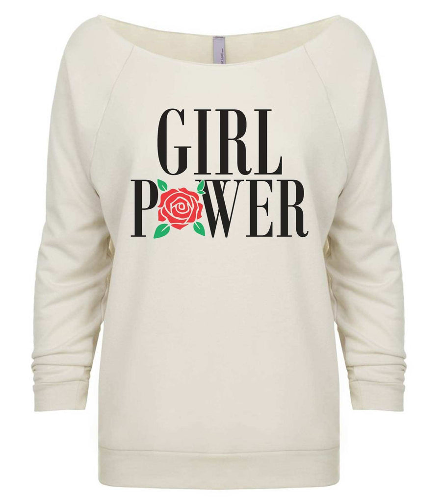 Girl Power 3/4 Sleeve Raw Edge French Terry Cut - Dolman Style Very Trendy Funny Shirt Small / Beige