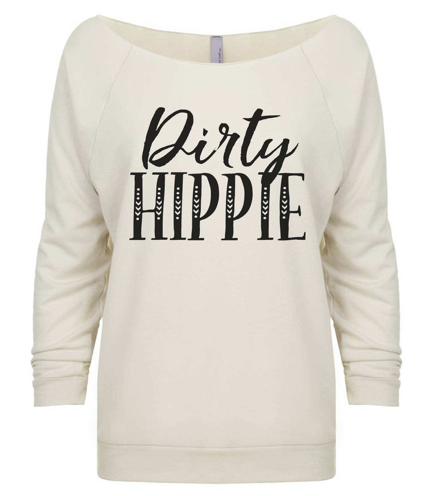 Dirty Hippie 3/4 Sleeve Raw Edge French Terry Cut - Dolman Style Very Trendy Funny Shirt Small / Beige