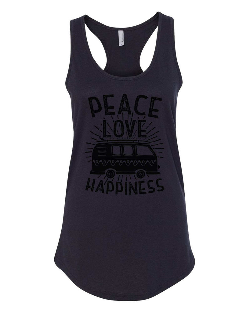 Womens Peace Love Happiness Grapahic Design Fitted Tank Top Funny Shirt Small / Black