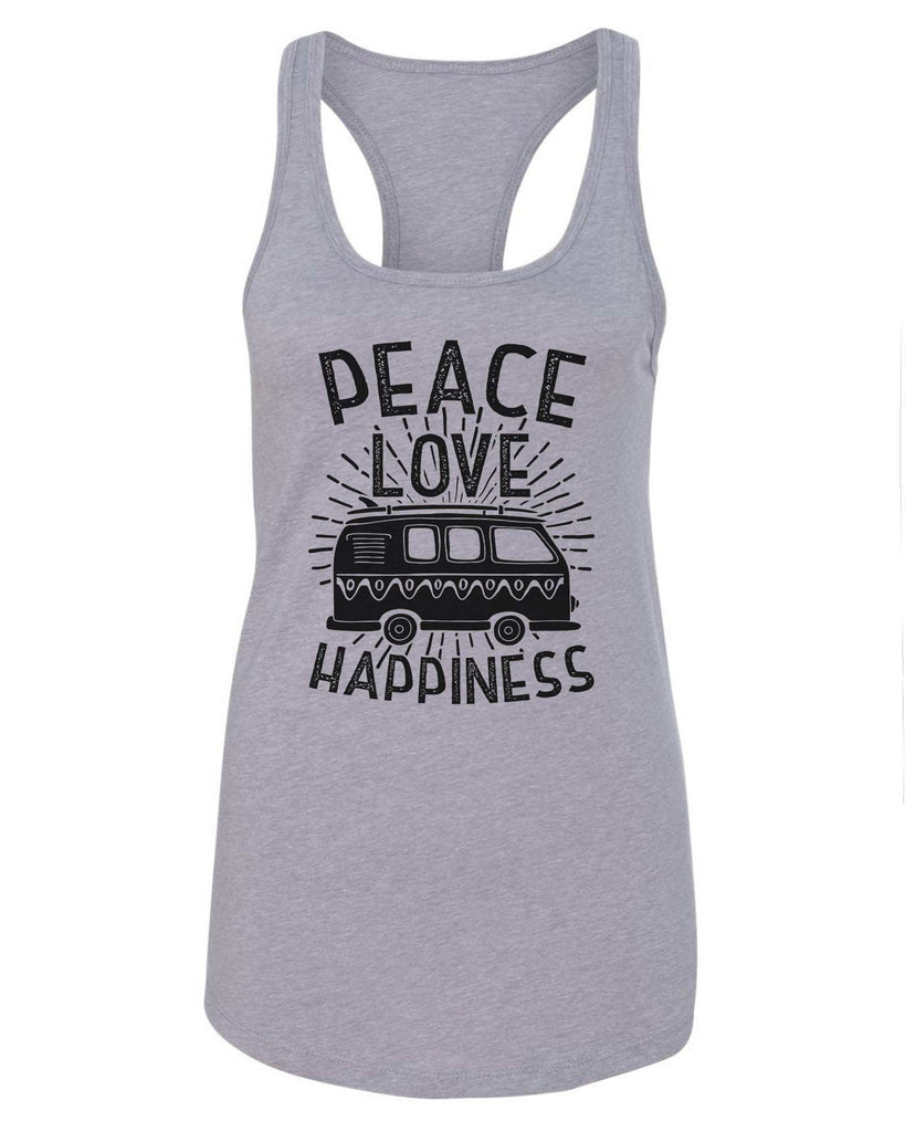 Womens Peace Love Happiness Grapahic Design Fitted Tank Top Funny Shirt Small / Grey