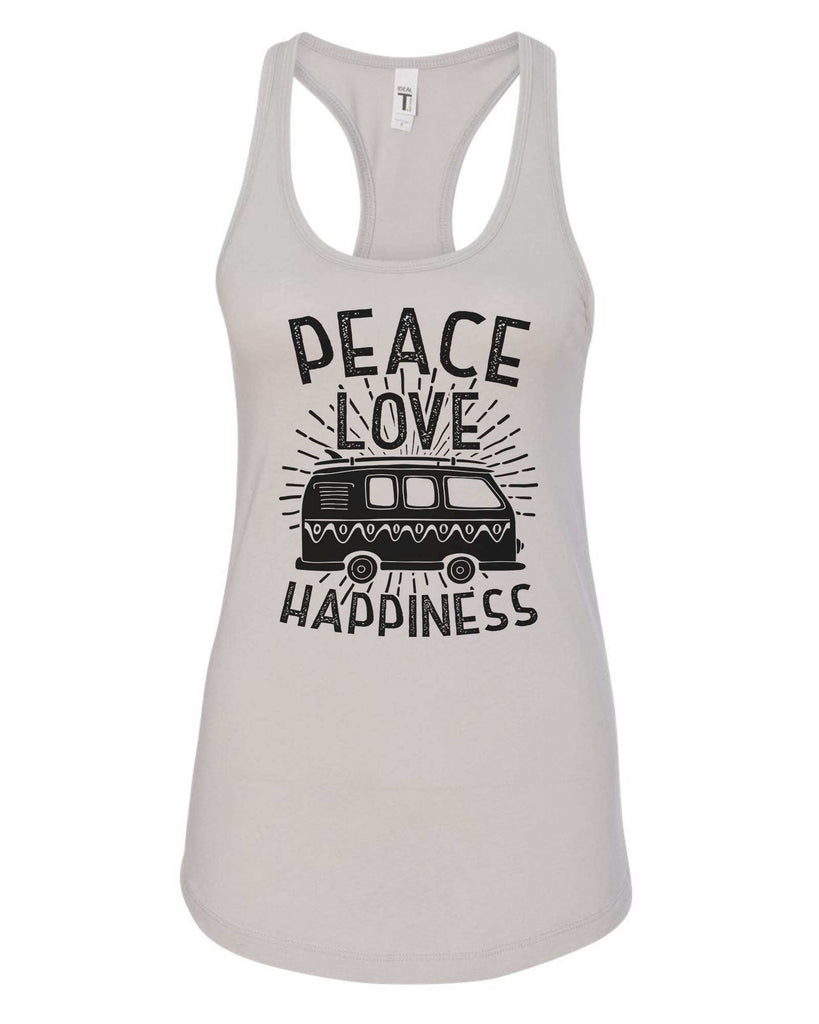 Womens Peace Love Happiness Grapahic Design Fitted Tank Top Funny Shirt Small / Silver