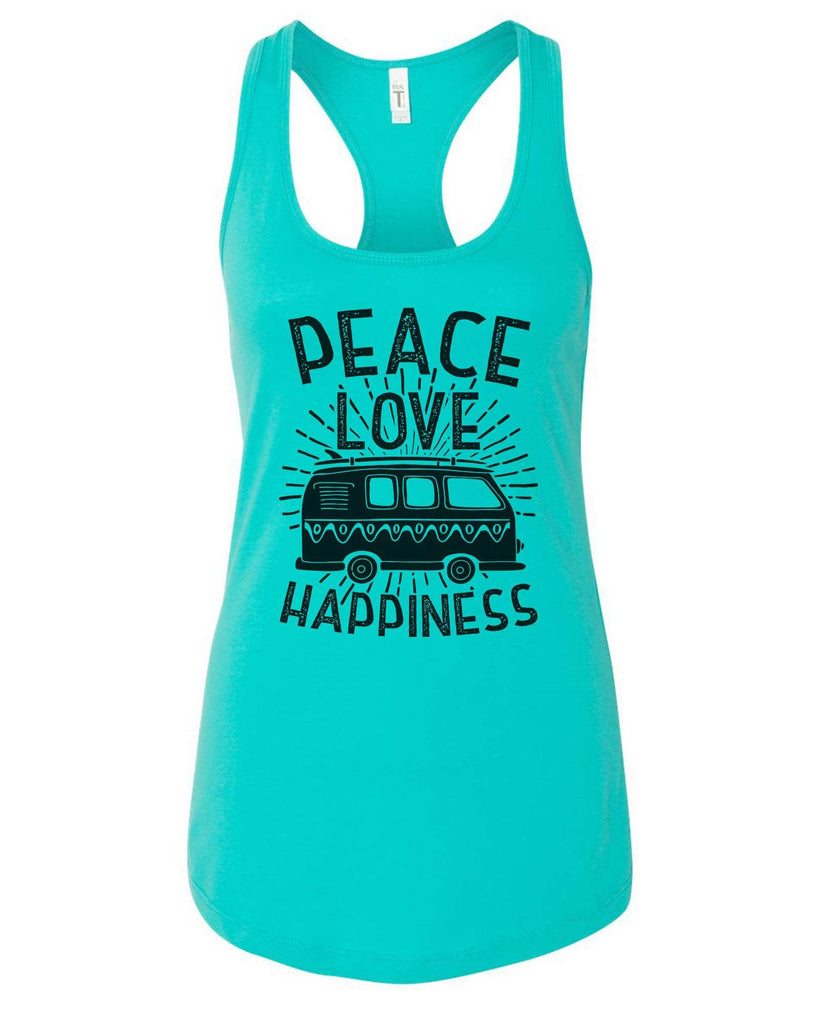 Womens Peace Love Happiness Grapahic Design Fitted Tank Top Funny Shirt Small / Sky Blue