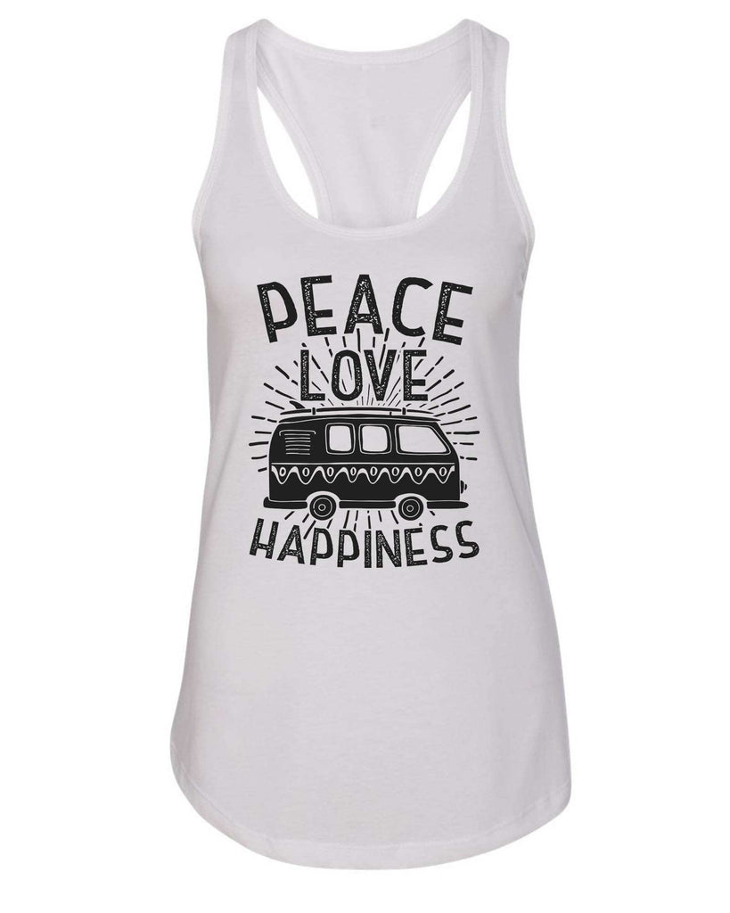 Womens Peace Love Happiness Grapahic Design Fitted Tank Top Funny Shirt Small / White