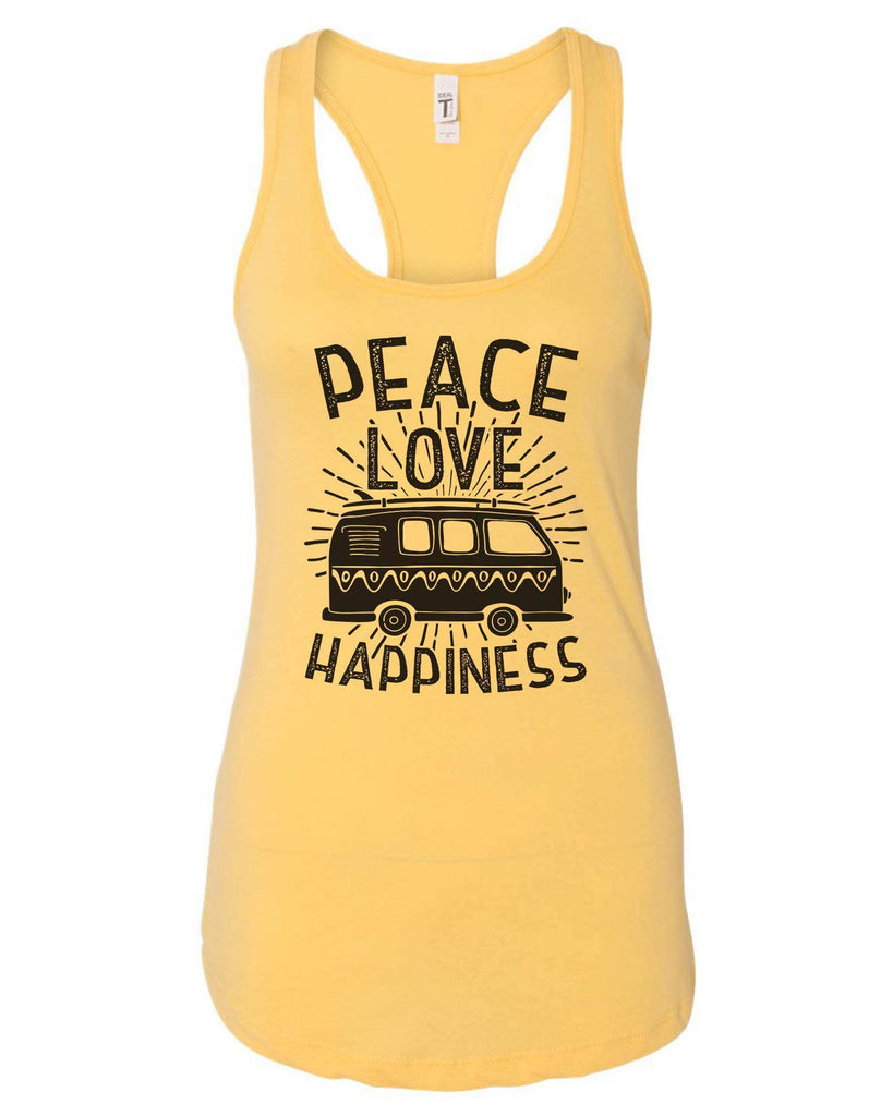 Womens Peace Love Happiness Grapahic Design Fitted Tank Top Funny Shirt Small / Yellow