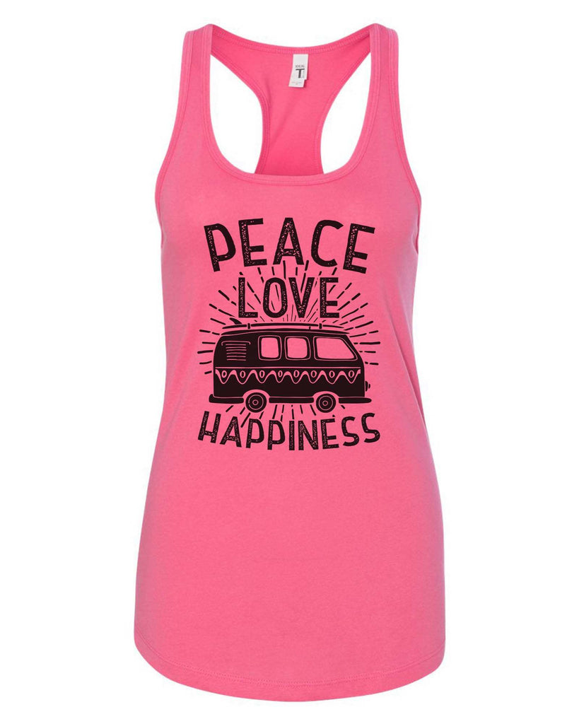 Womens Peace Love Happiness Grapahic Design Fitted Tank Top Funny Shirt Small / Fuchsia