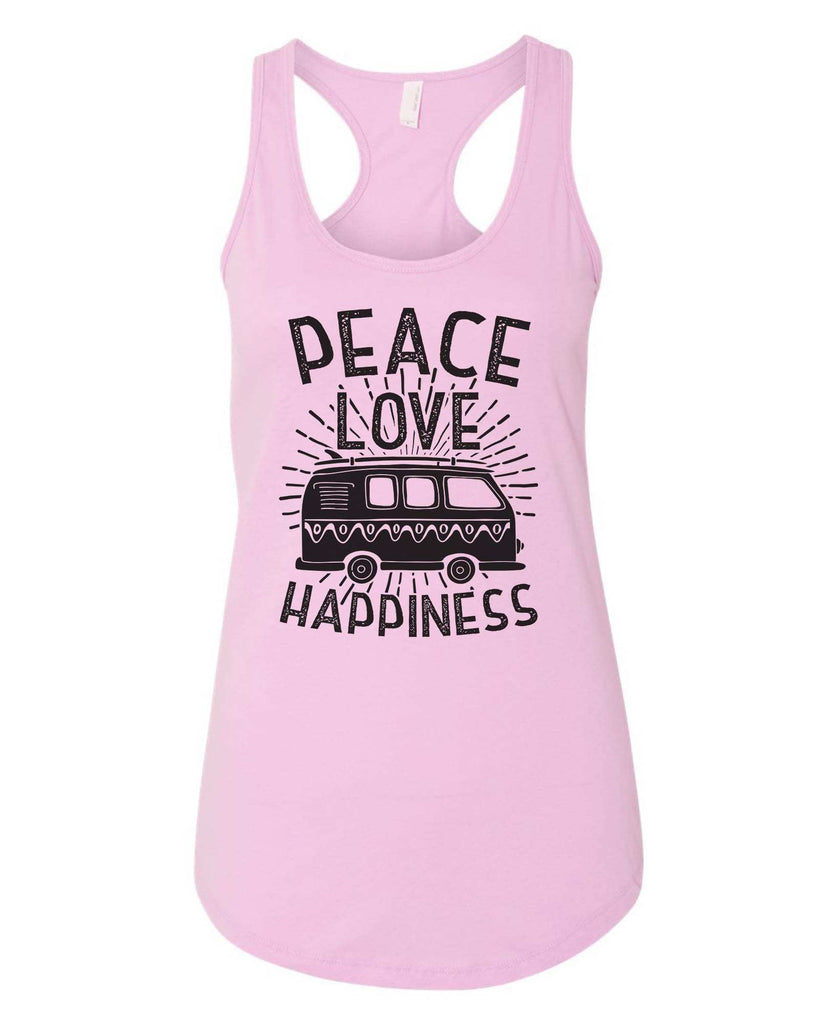 Womens Peace Love Happiness Grapahic Design Fitted Tank Top Funny Shirt Small / Lilac
