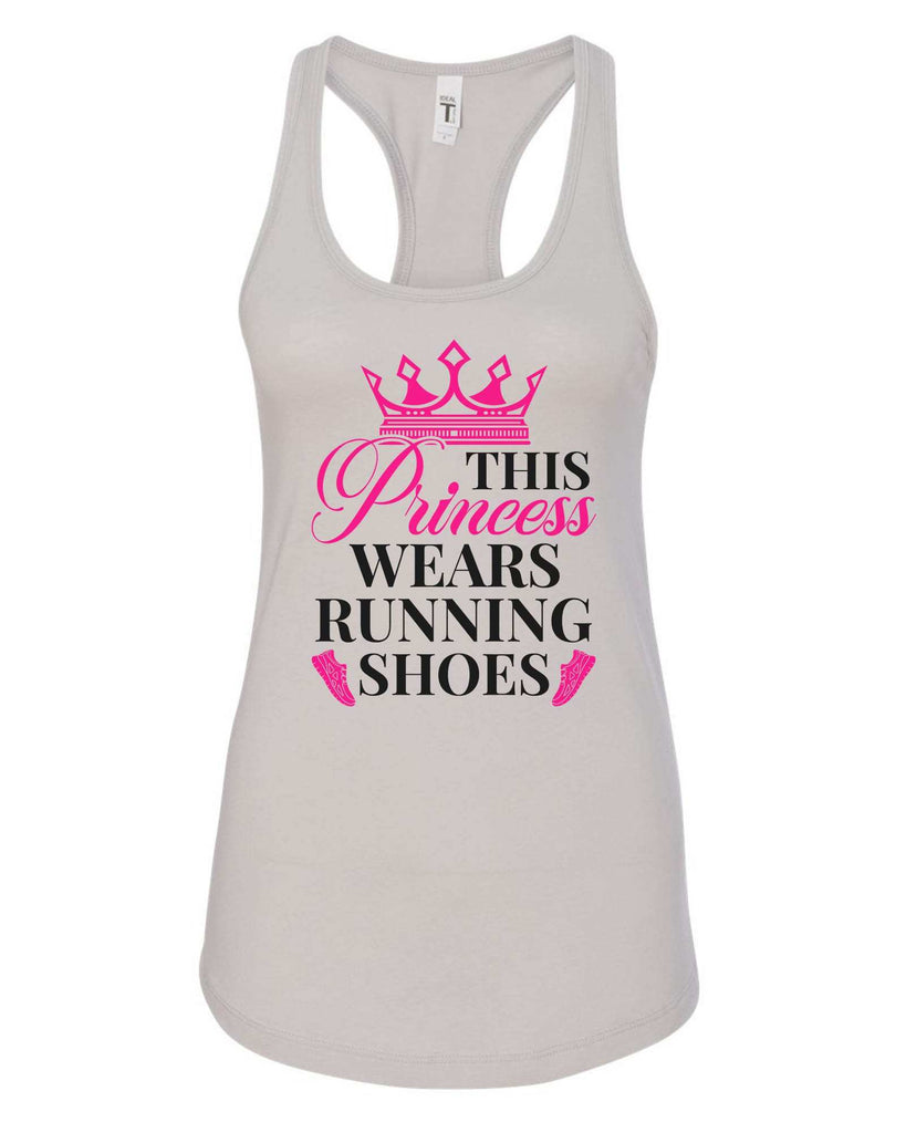 Womens This Princess Wears Running Shoes Grapahic Design Fitted Tank Top Funny Shirt Small / Silver
