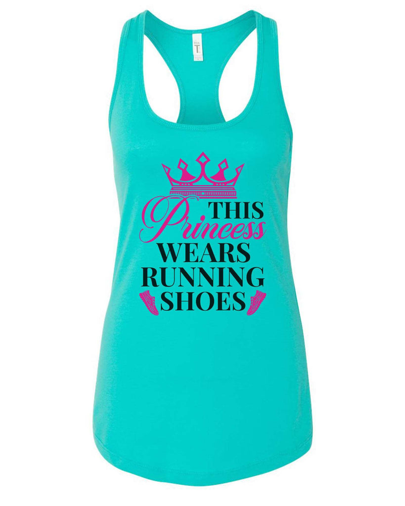 Womens This Princess Wears Running Shoes Grapahic Design Fitted Tank Top Funny Shirt Small / Sky Blue