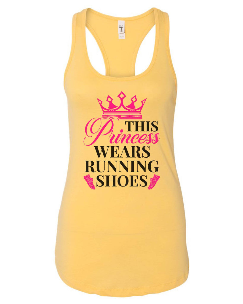 Womens This Princess Wears Running Shoes Grapahic Design Fitted Tank Top Funny Shirt Small / Yellow