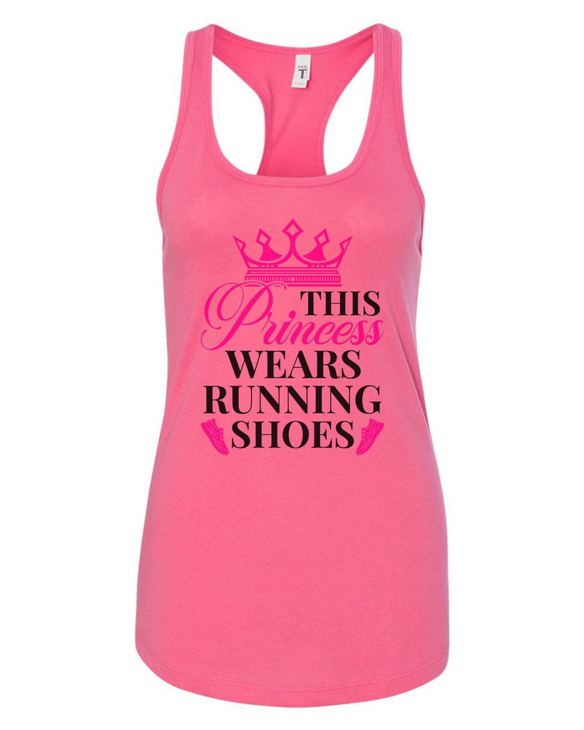 Womens This Princess Wears Running Shoes Grapahic Design Fitted Tank Top Funny Shirt Small / Fuchsia