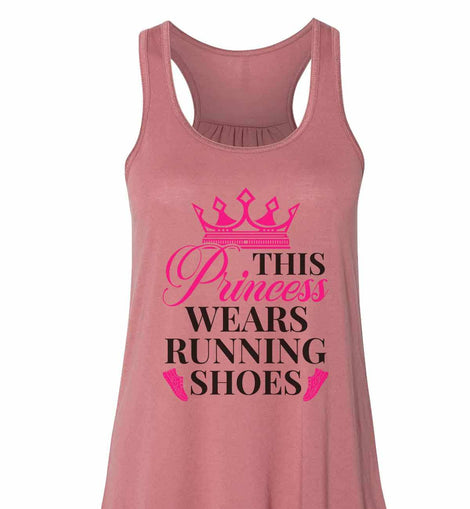 This Princess Wears Running Shoes - Bella Canvas Womens Tank Top - Gathered Back & Super Soft Funny Shirt Small / Mauve