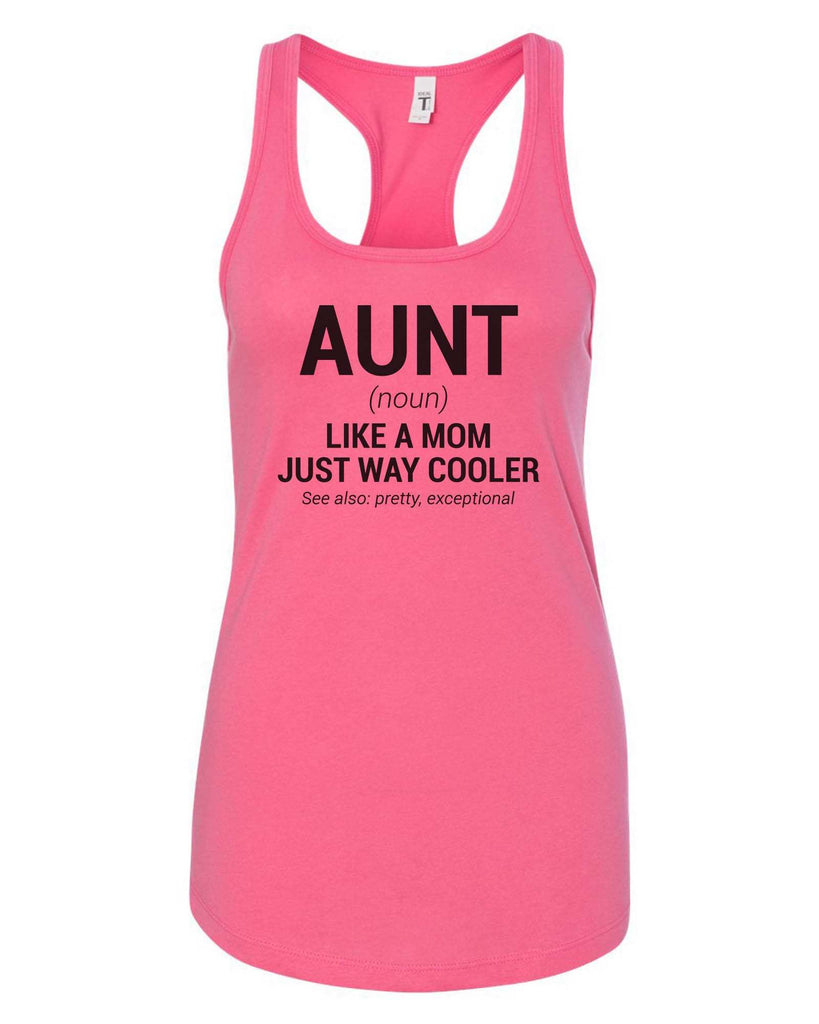 Womens Aunt Grapahic Design Fitted Tank Top Funny Shirt Small / Fuchsia