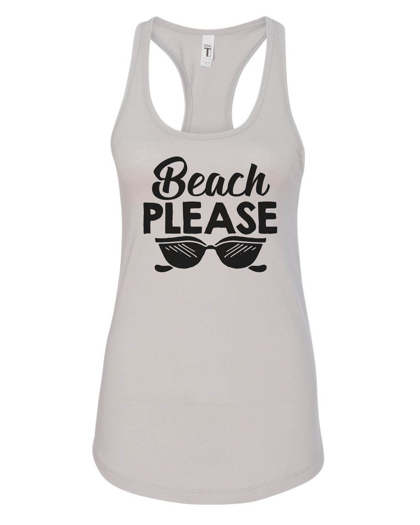Womens Beach Please Grapahic Design Fitted Tank Top Funny Shirt Small / Silver