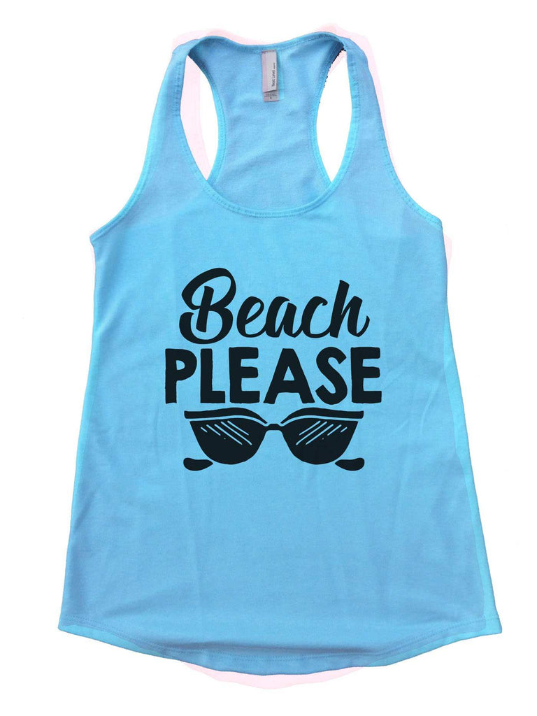 Beach Please Womens Workout Tank Top Funny Shirt Small / Cancun Blue